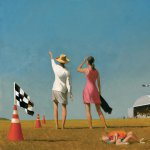 Bo Bartlett, Air Show Study (SOLD), oil on board, 18 x 18 inches