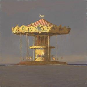Bo Bartlett, Arcachon Carousel (Study), 2017, Oil on panel, 13 x 13 inches