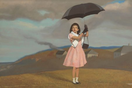 Bo Bartlett, Umbrella Girl (SOLD), 2018, Oil on panel, 23 1/8 x 35 1/8 inches