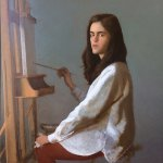 Bo Bartlett, The Art Student, 2016, oil on panel, 24 x 24 inches
