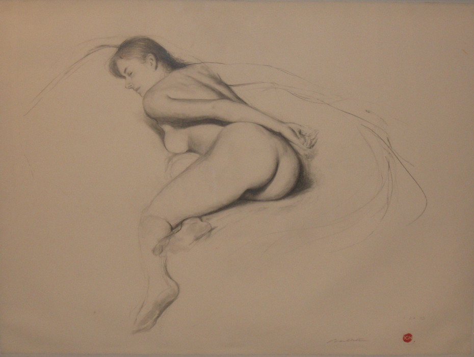 Bo Bartlett, Nude Sketch, graphite on paper, 22 x 30 inches