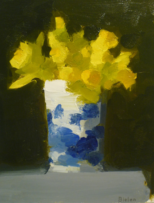 Stanley Bielen, Trumpet Daffodils, 2009, oil on prepared panel, 10 1/8 x 7 3/4 inches