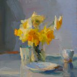 Christine Lafuente (b.1968), Daffodils, Berry Carton, and Dish, 2018, Oil on linen, 16 x 16 inches