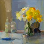 Christine Lafuente, Daffodils, Bottles, and Scissors, 2017, oil on linen, 12 x 16 inches