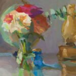 Christine Lafuente, Gerber Daisies, Globe and Hurricane Lamp (SOLD), 2021, Oil on linen, 14 x 18 inches