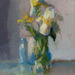 Christine Lafuente, Iris and Buttercup, 2019, Oil on linen, 16 x 12 inches
