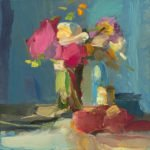 Christine Lafuente, Late Summer Bouquet with Peaches, 2019, Oil on linen, 12 x 12 inches