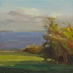 Christine Lafuente (b.1968), Late Summer, View Toward the Sea, 2017, Oil on linen, 10 x 10 inches