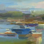 Christine Lafuente (b.1968), Lobster Boats, Summer Day, 2018, Oil on linen, 11 x 14 inches