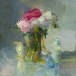 Christine Lafuente; Peonies, Creamer, and Blue Bottles; 2018; Oil on linen; 16 x 16 inches