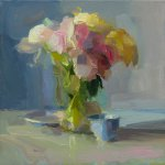 Christine Lafuente, Peonies, Plate, and Teacup, 2018, Oil on linen, 12 x 12 inches