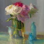 Christine Lafuente (b.1968), Peonies, Ribbon, and Blue Bottles, 2018, Oil on linen, 20 x 16 inches