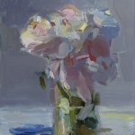 Christine Lafuente, Peonies and Blue Scissors, 2015, oil on mounted linen, 10 x 8 inches