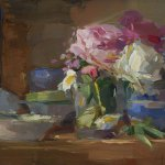 Christine Lafuente, Peonies and Bowls, oil on linen, 12 x 16 inches