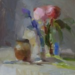 Christine Lafuente, Peonies and Fig Jam, 2015, oil on mounted linen, 8 x 8 inches