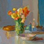 Christine Lafuente (b.1968), Ranunculus and Violin, 2018, Oil on linen, 16 x 16 inches