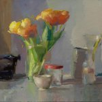 Christine Lafuente, Tulips, Typewriter, and Jars, 2017, oil on linen, 18 x 24 inches
