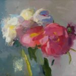 Christine Lafuente, White and Pink Peonies, 2019, Oil on linen, 11 x 14 inches