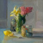 Christine Lafuente (b.1968), Yellow Iris, Tulips, and Jars of Pigments, 2017, Oil on linen, 16 x 16 inches