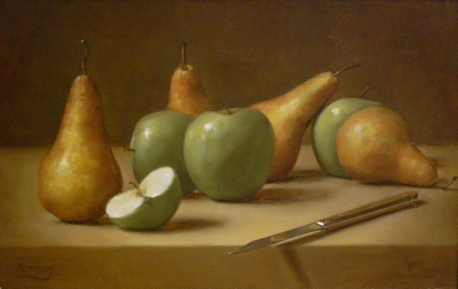 W.O. Ewing, Apples and Pears, 1998, oil on board, 12 x 24 inches
