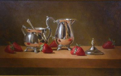 W.O. Ewing, Silver and Berries, oil on panel, 12 x 18 inches