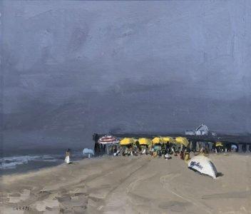 Giovanni Casadei (b. 1956), Atlantic City - The Yellow Umbrellas, Oil on panel, 12 1/2 x 14 1/2 inches