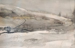 """George """"Frolic"""" Weymouth, Winter Landscape at """"The Big Bend"""", watercolor, 14 3/4 x 22 3/4 inches"""