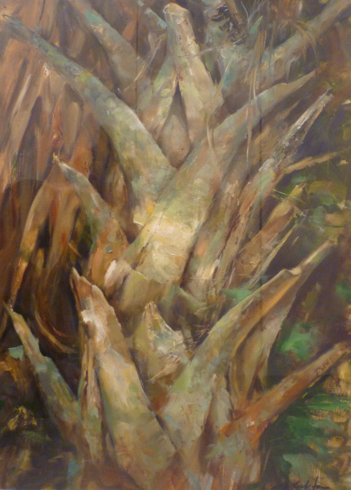 Jeff Moulton, Old Palm Fragment, oil on paper, 29 1/2 x 21 inches