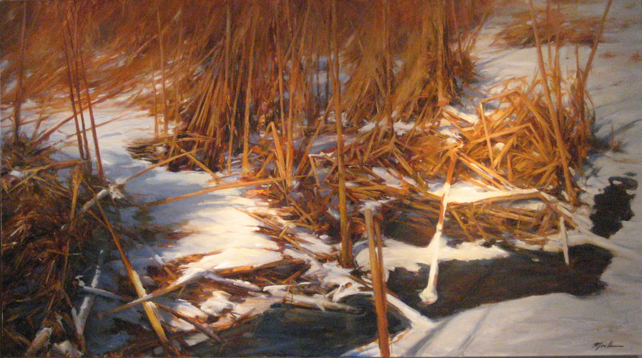 Jeff Moulton, Reeds in Snow, oil on canvas, 40 x 72 inches