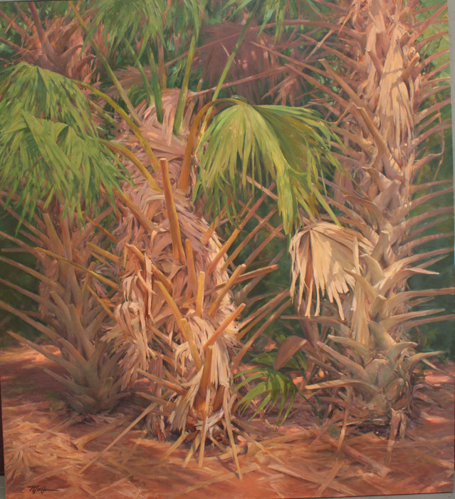 Jeff Moulton, Three Palms, oil on canvas, 78 x 71 inches