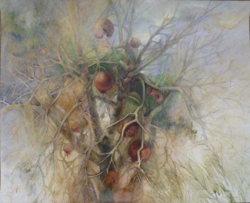 Jane Pack, Pomegranate Tree, 2009, mixed media, 26 3/4 x 33 inches