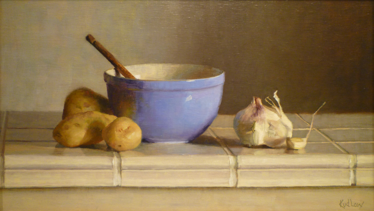 Judith Pond Kudlow, Blue Bowl, 2008, oil on canvas, 11 x 19 inches