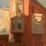 Jon Redmond, Three Bays, 2016, oil on board, 10 x 10 inches