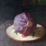 Jon Redmond, Cabbage, 2016, oil on board, 10 x 10 inches