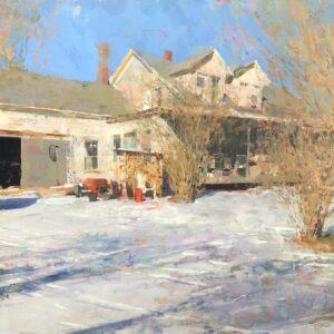 Jon Redmond, Farmhouse December, 2020, Oil on board, 24 x 24 inches