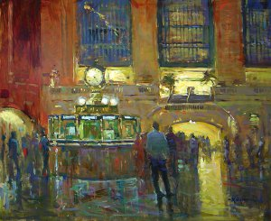 Jim Rodgers, Heading Home, Grand Central, 2015, oil on board, 20 x 24 inches