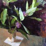 Jon Redmond, Milkweed, 2017, oil on mylar, 13 x 13 inches