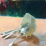 Jon Redmond, Silverware and Bowl, 2019, Oil on board, 10 x 10 inches