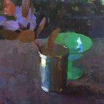 Jon Redmond, Smoke Brush, 2016, oil on board, 10 x 10 inches