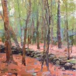Jon Redmond, Stone Wall in the Woods, 2017, oil on board, 14 x 14 inches