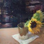 Jon Redmond, Sunflowers, 2017, oil on board, 10 x 10 inches