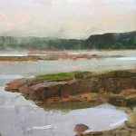 Jon Redmond, Tidal Pond, Vinalhaven, 2017, oil on board, 10 x 10 inches