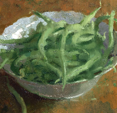 Jon Redmond, Bowlobeans, 2011, oil on board, 8 1/2 x 8 1/2 inches