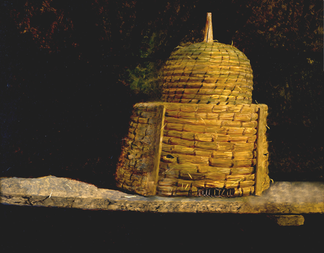 Jamie Wyeth, Skep, c. 1985-86, oil on board, 18 3/4 x 23 1/4 inches