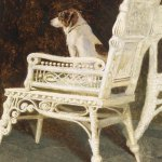 Jamie Wyeth, Yolk and the Wicker Chair, 1987, combined mediums, 22 1/4 x 28 inches