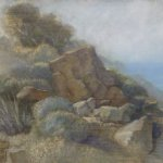 Jane Pack, Rocky Landscape, 2009, oil on paper, 13 3/4 x 19 1/8 inches