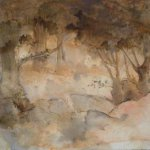 Jane Pack, Woods, 2009, oil on paper, 20 1/2 x 29 1/2 inches