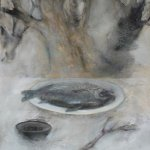 Jane Pack, Dinner, 2009, oil on paper, 25 1/2 x 19 3/4 inches