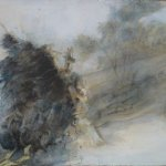 Jane Pack, Uprooted Tree, 2009, oil on paper, 27 1/2 x 39 inches