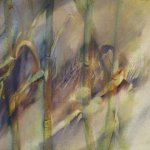 Jane Pack, Four Stalks of Bambo, 2009, oil on paper, 19 3/4 x 25 1/2 inches